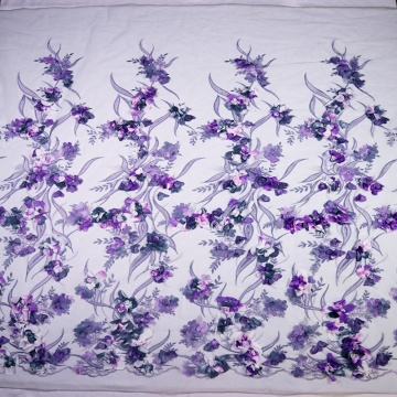 Indwangu ye-Purple Flower 3D Embroidery Lace Mesh