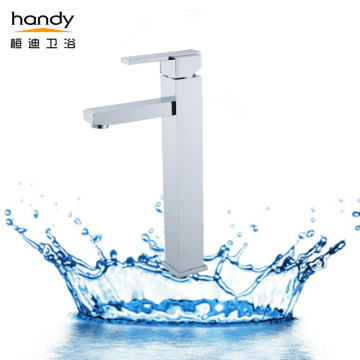 Square high-neck above counter basin mixer faucet