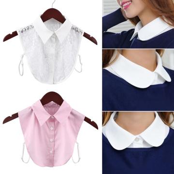 Vintage Cotton Lace Fake Collar Blouse Detachable Shirt False Collar Lapel Blouse Top Women Black White Clothes Shirt Accessorie