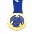 Handmade gold metal enamel color medal
