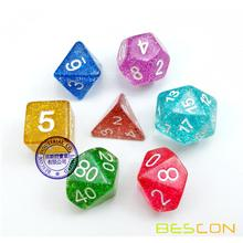 Assorted Colored Colorful Glitter Polyhedral Dice 7pcs Set, Glitter RPG Dice Set d4 d6 d8 d10 d12 d20 d%, Clear Tube Packaging