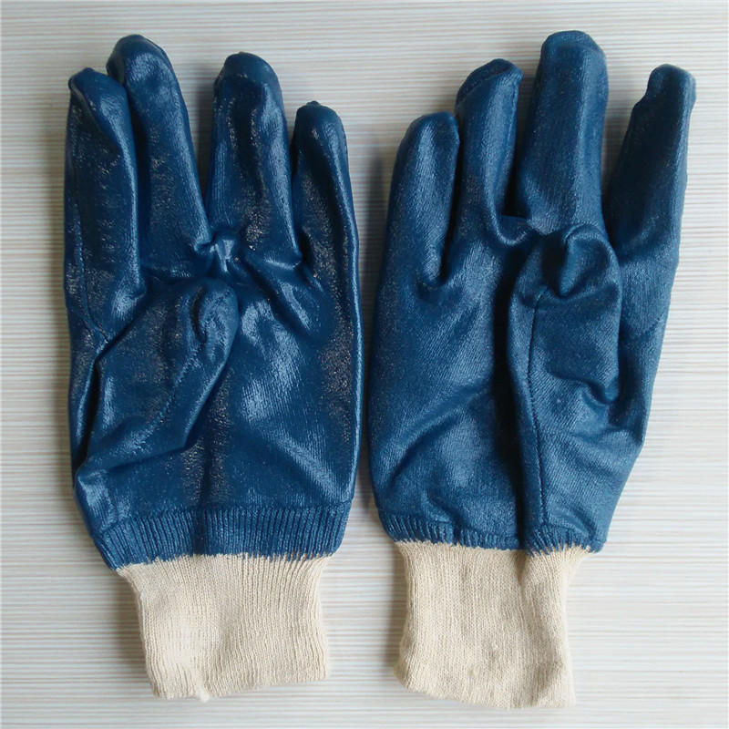 Blue nitrile cotton lined gloves knit wrist