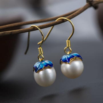 925 Sterling Silver Gilt Earrings Cloisonne Lotus Freshwater Pearl Earrings