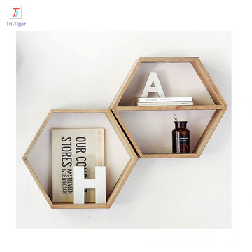 High quality customized brown finish wall mount Hexagon floating wooden shelf