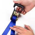 "1-1/16"" 1500kgs 28mm Mini Rubber Handle Buckle Ratchet Car Lashing Belt Straps With 1.5T S Hooks Safety Latch"