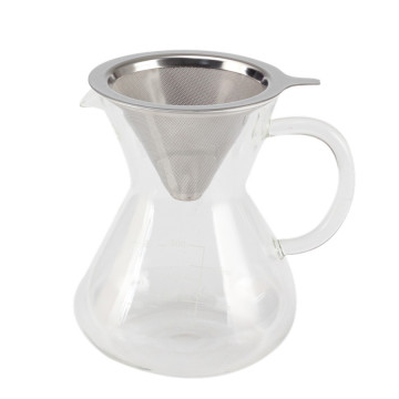 HandDrip Glass Coffee Maker with Stainless Steel Filter