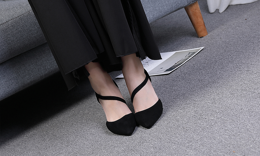 Pointed Toe Rubber Pumps
