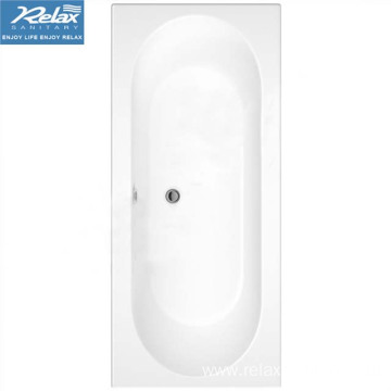 White acrylic simple rectangular bathtub