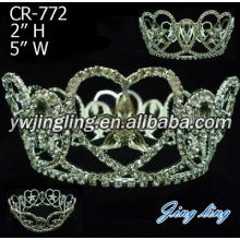 Rhinestone Beauty Queen Tiara Round Pageant Crowns
