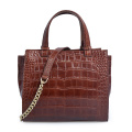 Crocodile Leather Pattern Burgundy Top Handle Handbag Gift