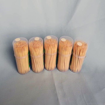 High Quality Hygienic Bamboo Toothpick Small Round Bottle
