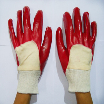 Red Single Dipped PVC Glove.Interlock Liner
