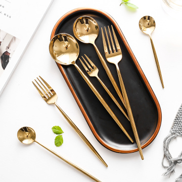 High quality Stainless Steel Shiny Gold Cutlery Set