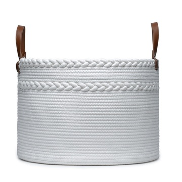 Household foldable cotton rope sundries storage basket