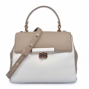Classic Contrast Color Handbags Women Leather Tote Bags