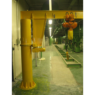 Fixed slewing jib crane with electric chain hoist