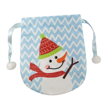 Portable christmas gift bag with snowman pattern