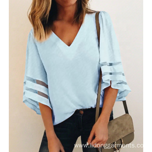 Women's V-Neck Mesh Panel Blouse