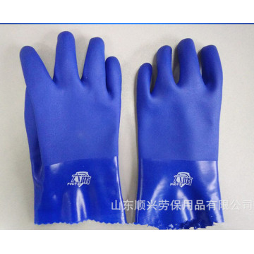 Blue PVC gloves with impregnated sandy Finish 27cm