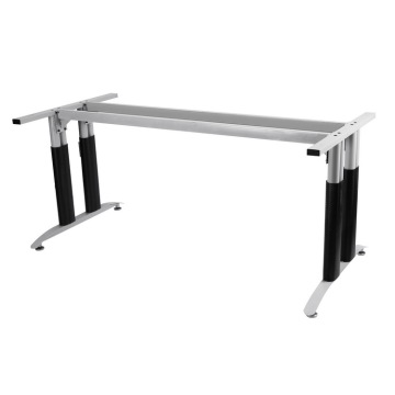 Silver Office Desk Station Table Frame With Wheels