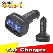 kebidu 12-24V 4 in 1 Car Charger Dual DC5V 3.1A USB with Temperature/Voltage/Current Meter Tester Adapter Digital Display