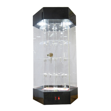 Clear acrylic led lighting rotating display stand cabinet