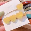 2 Pcs/set Soft Candy Pure Color Peach Heart Clip Duckbill Clip Set Small Fresh Hair Accessories 5 Colors Headware Hairpins