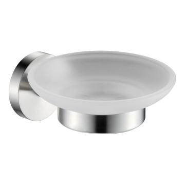 304stainless steel soap holder with glass dish