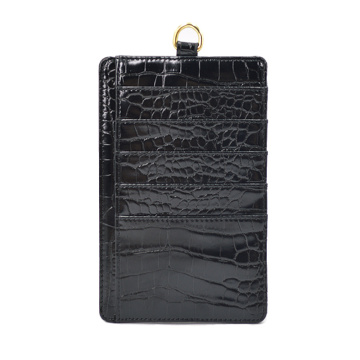Badge Holder leather Retractable Lanyard Credit Card Case