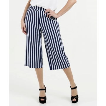 Casual women stripe printing wide leg pants