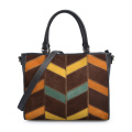 Color Contrast Genuine Leather Joint Panels Tote Bag