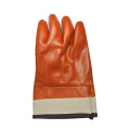 Brown PVC coated gloves foaminsulated linning safety cuff