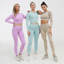 LANTECH Women Sports Suits Set Yoga Sets Gym Fitness Athletic Pants Sportswear Leggings Shirt Seamless Sports Activewear