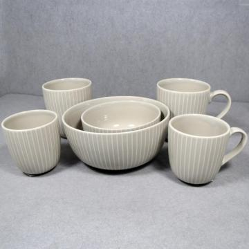 Ceramic Bowl and Mug Grey