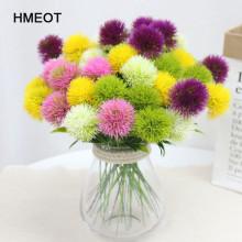 5pcs/Set Artificial Plants Simulation Flowers Dandelion Plastic Fake Flowers Yellow For Gardening Living Room Home Decoration