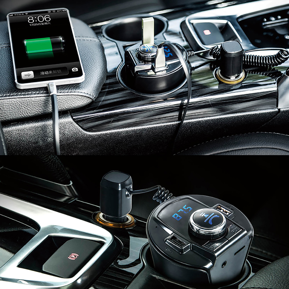 Bluetooth Car Kit MP3 Player FM Transmitter Dual USB Charger Hands-free Car Kit Music Player Support TF Card