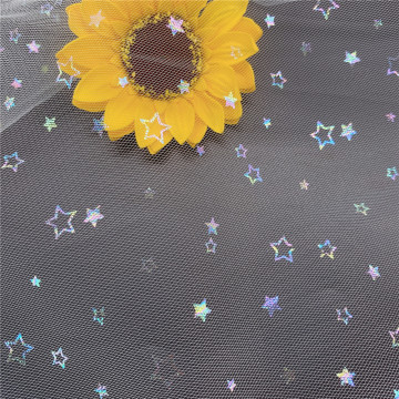 Fancy Iridescent Foil Stars Printed Tulle Mesh Fabric