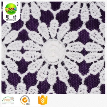 100 cotton peach embroidery lace fabric