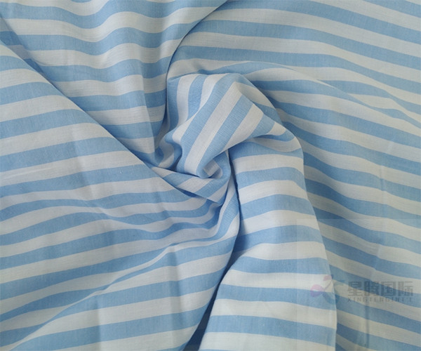 Striped blue and white Yarn Dyed Cotton Fabric1