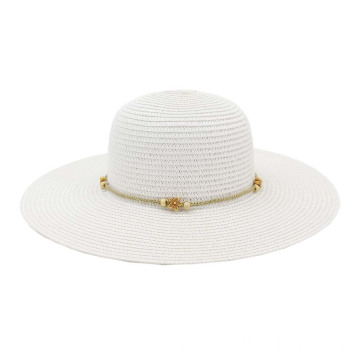 Fashionable pearl retro summer straw lifeguard hat