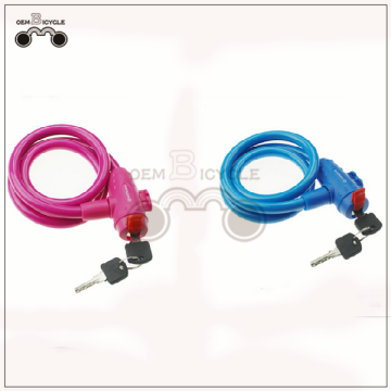 Plastic covered steel wire bicycle cable lock folding
