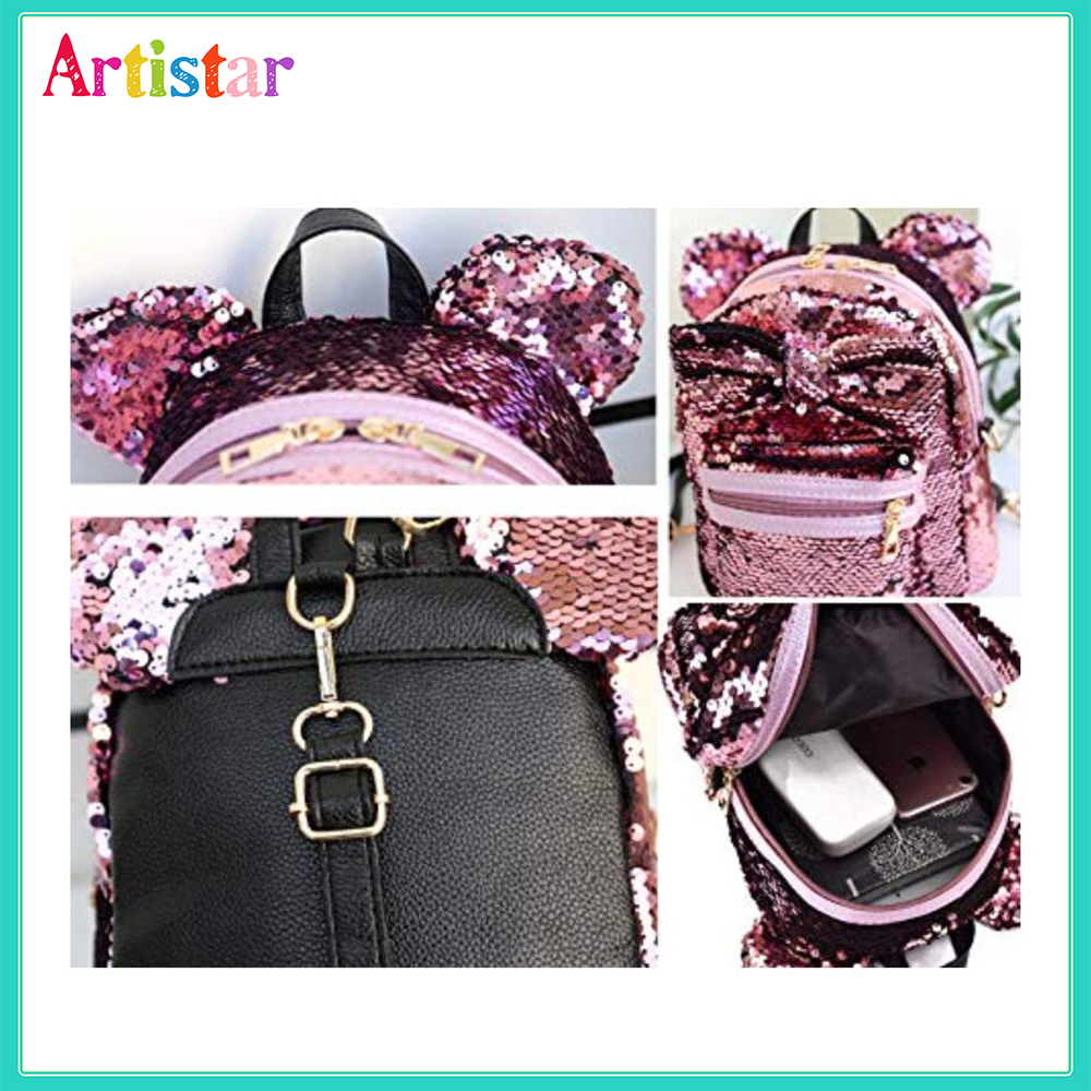 Ears Bowknot Sequins Backpack 16 3