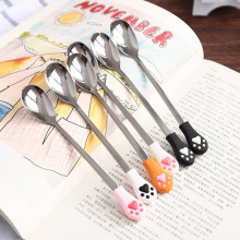 New 1 Pcs Stainless Steel Cute Cat Claw Coffee Spoons Fruit Dessert Spoon Candy Tea Spoon Cat Drink Tableware Kitchen Supplies