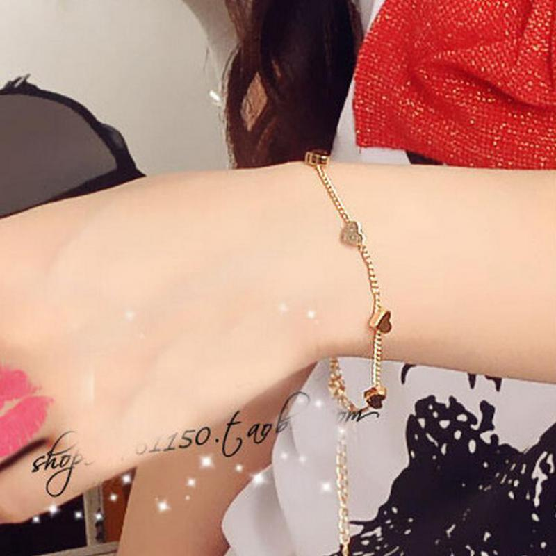 Korean Version Of The Small Fresh Lady Fashion Gold Five-pointed Star And Peach Heart Bracelet Women's Jewelry Wholesale