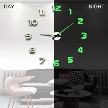 New Luminous Wall Clocks Large Clock watch Horloge 3D DIY Acrylic Mirror Stickers Quartz Duvar Saat Klock Modern mute