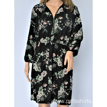 Women Printed Long Sleeve Dress