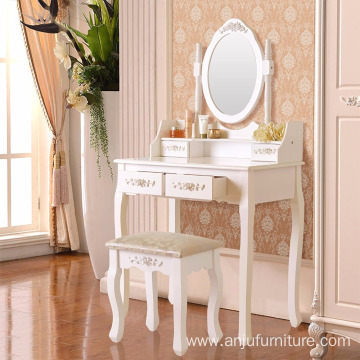 Factory Vanity Makeup Table Set Dressing Table with 4 Drawers/ Stool White
