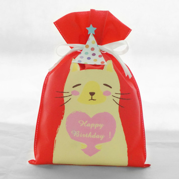 Red Birthday Series Cat Pattern Gift Bag