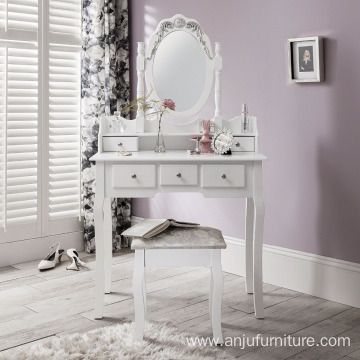 Shabby Chic Dressing Table, Mirror & Stool Set