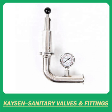 Sanitary exhaust air release valve with pressure gauge